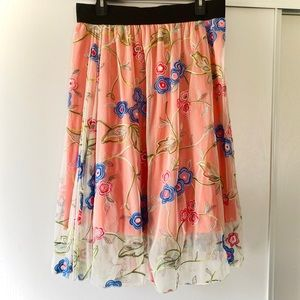 Lularoe Lola Embroidered Floral Skirt